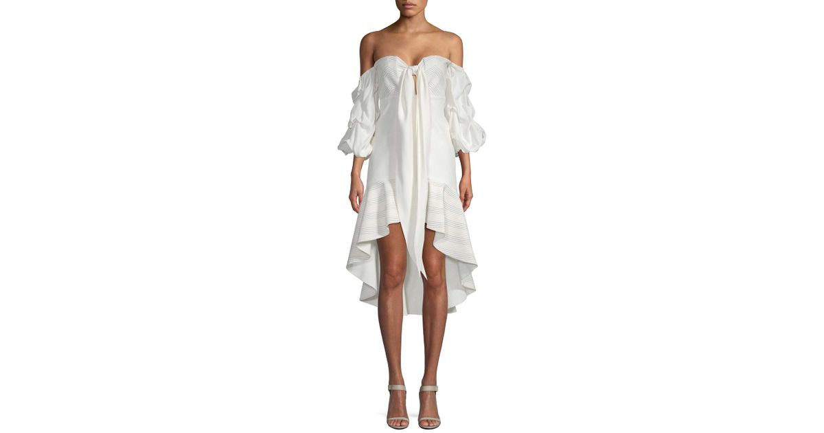 3ab998e51866 Lyst - Alexis Off-the-shoulder Flounce Dress in White