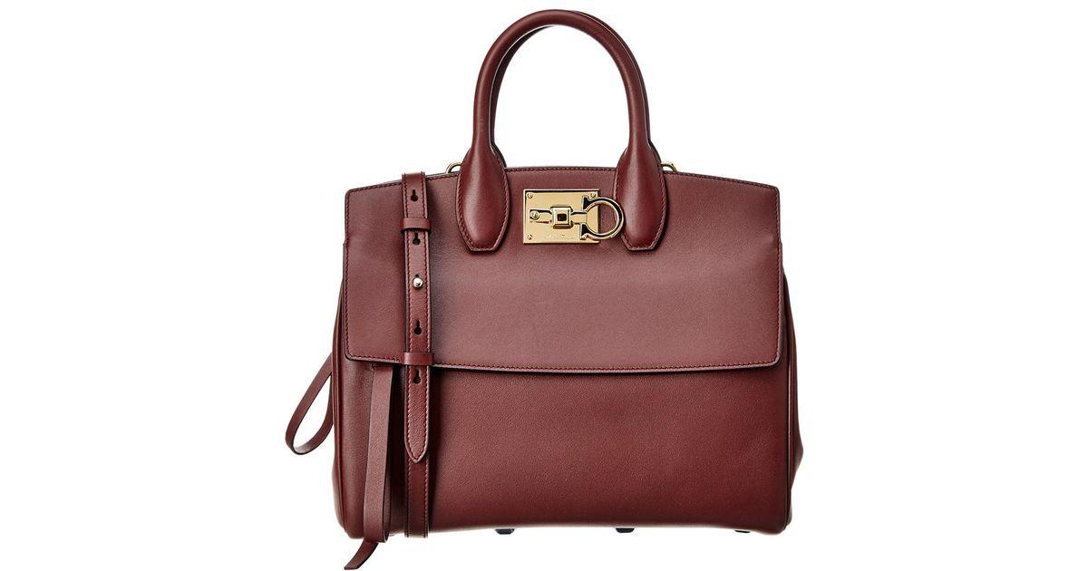 bdd5d0fc509b Lyst - Ferragamo Leather Studio Satchel in Red