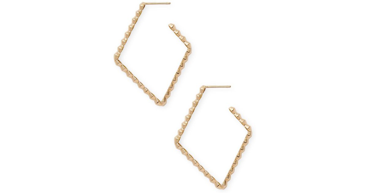Lyst Paolo Costagli 18k Yellow Gold With Diamond Shaped Hoop Earrings In Metallic