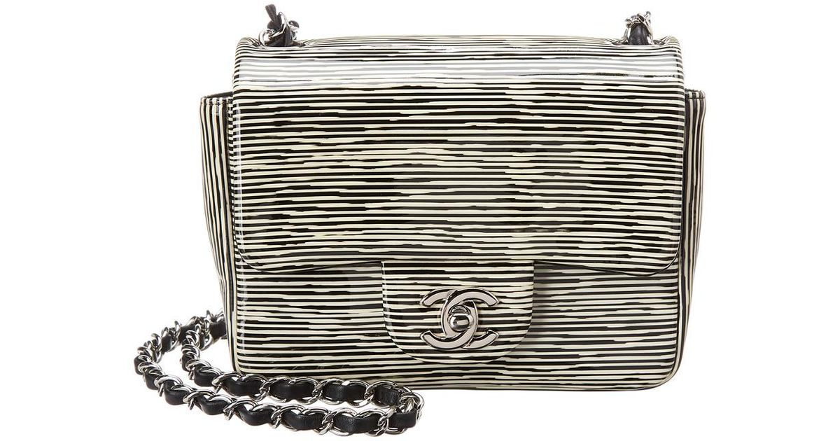 9b47f34d6d74 Chanel Limited Edition Black & White Patent Leather Mini Half Flap Bag in  Black - Lyst