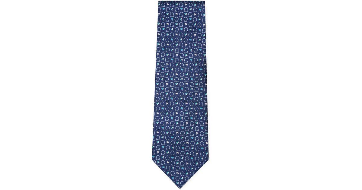 bd0025e17e99 Lyst - Ferragamo Silk Gancini Rope And Flag Tie in Blue for Men