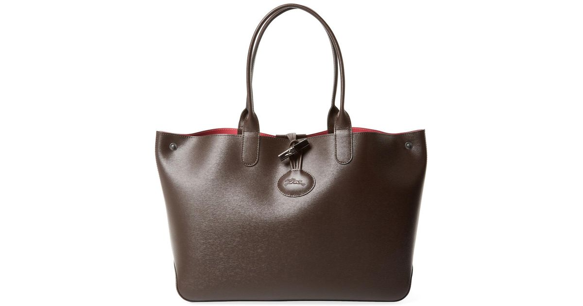 Lyst - Longchamp Roseau Reversible Large Leather Tote in Brown dd9a712bd34e4
