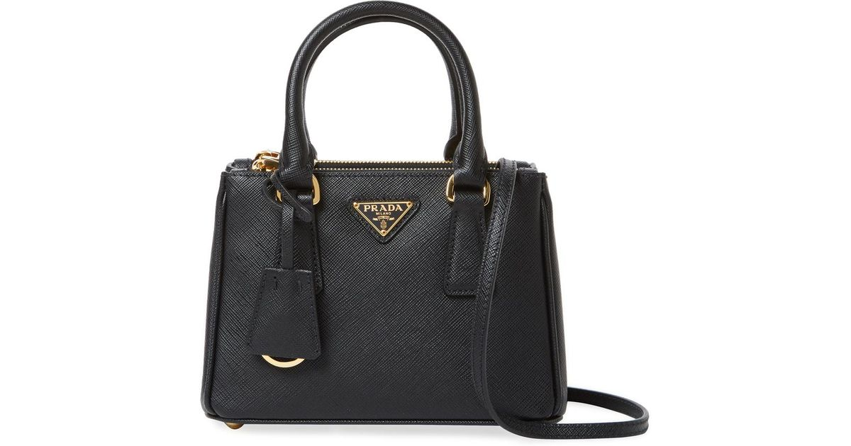 684d9a95a197 Prada Galleria Double Zip Mini Saffiano Leather Tote in Black - Lyst