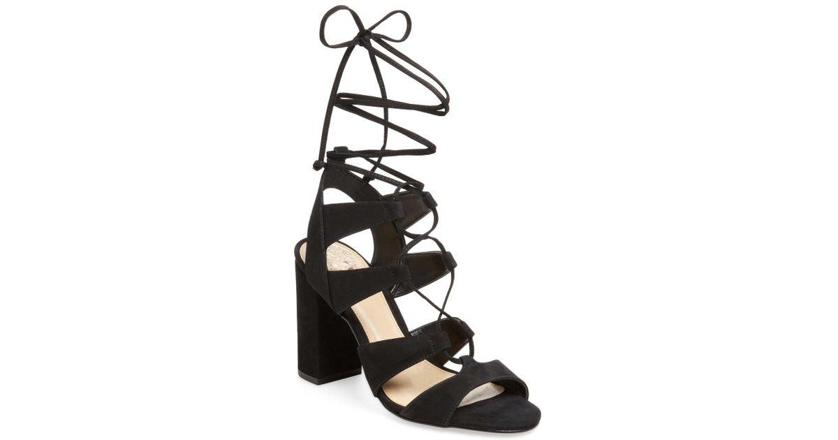 363044d1af1d Lyst - Vince Camuto Winola Nubuck Lace-up Sandal in Black