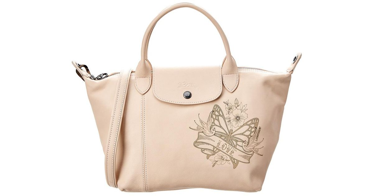 5ea3864aa942 Longchamp Le Pliage Cuir Small Leather Top Handle Tote in Pink - Lyst