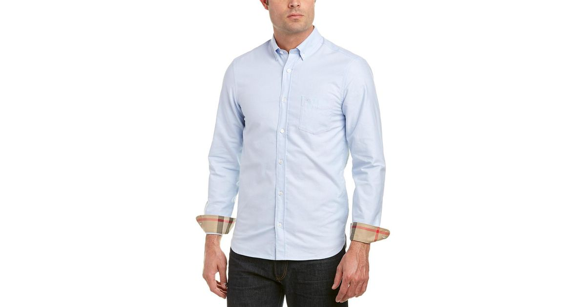 55a415830 Lyst - Burberry Check Detail Cotton Oxford Shirt in Blue for Men