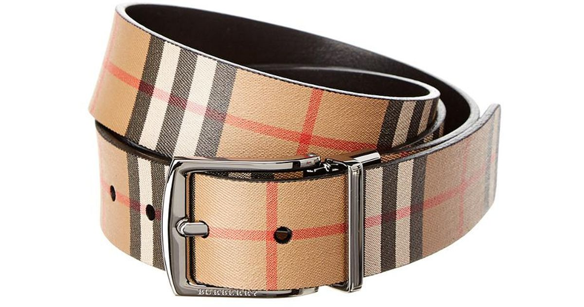 fc8791b8d290 Lyst - Burberry Reversible Vintage Check Leather Belt in Black for Men