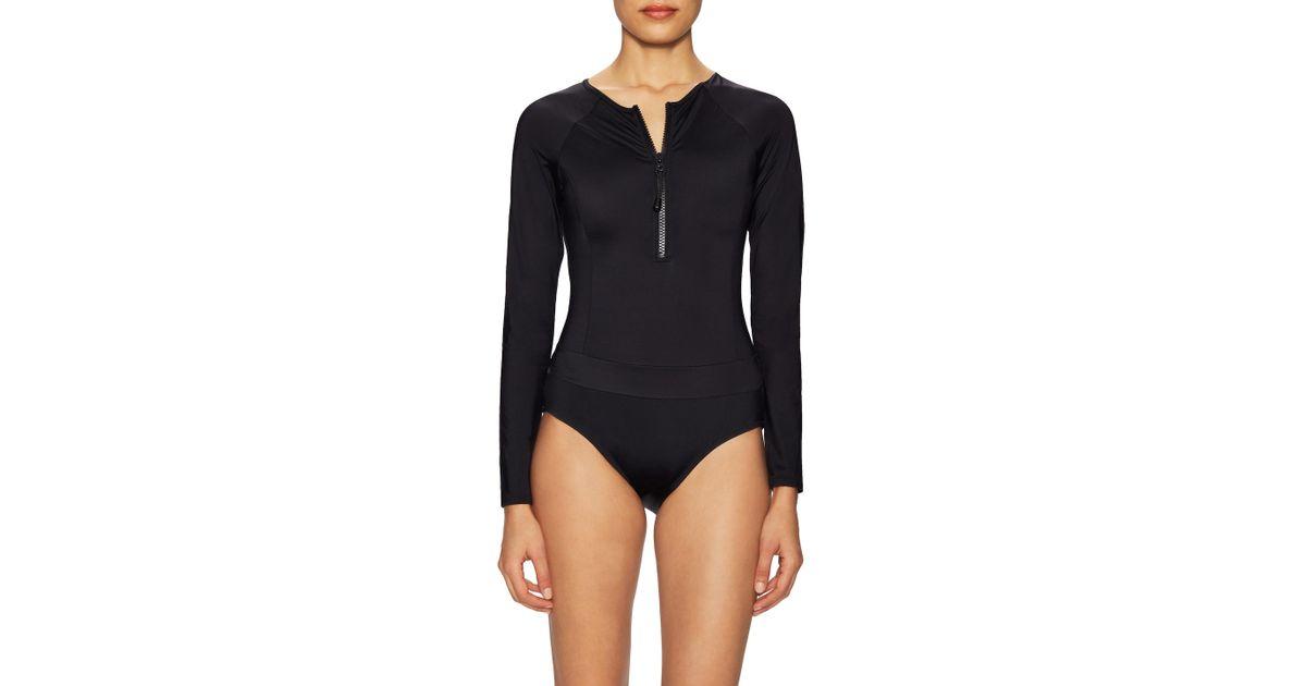 5925351590bd9 SPANX® Swim Long Sleeve One Piece in Black - Lyst