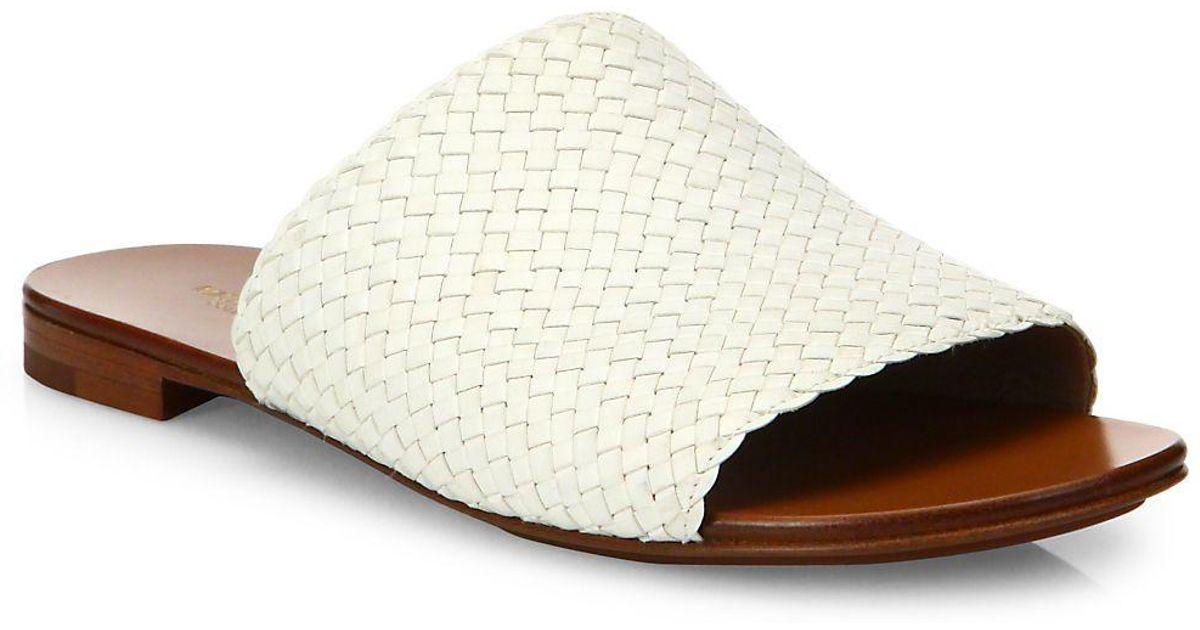 2d4c3f1705b6 Lyst - Michael Kors Byrne Woven Leather Slides