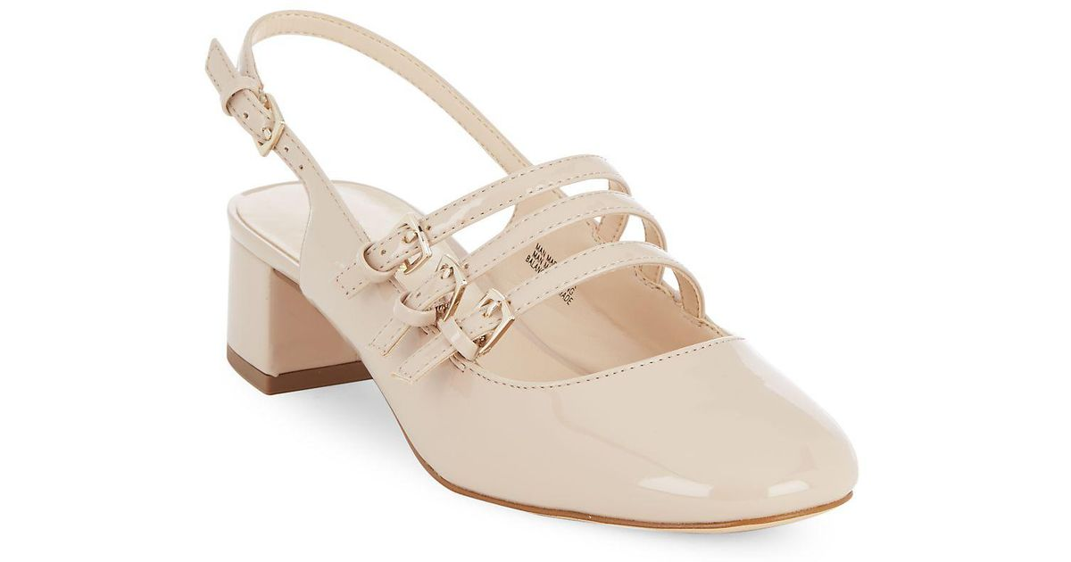 8a020e07f56 Nine West Weireley Leather Slingback Pumps in Natural - Lyst