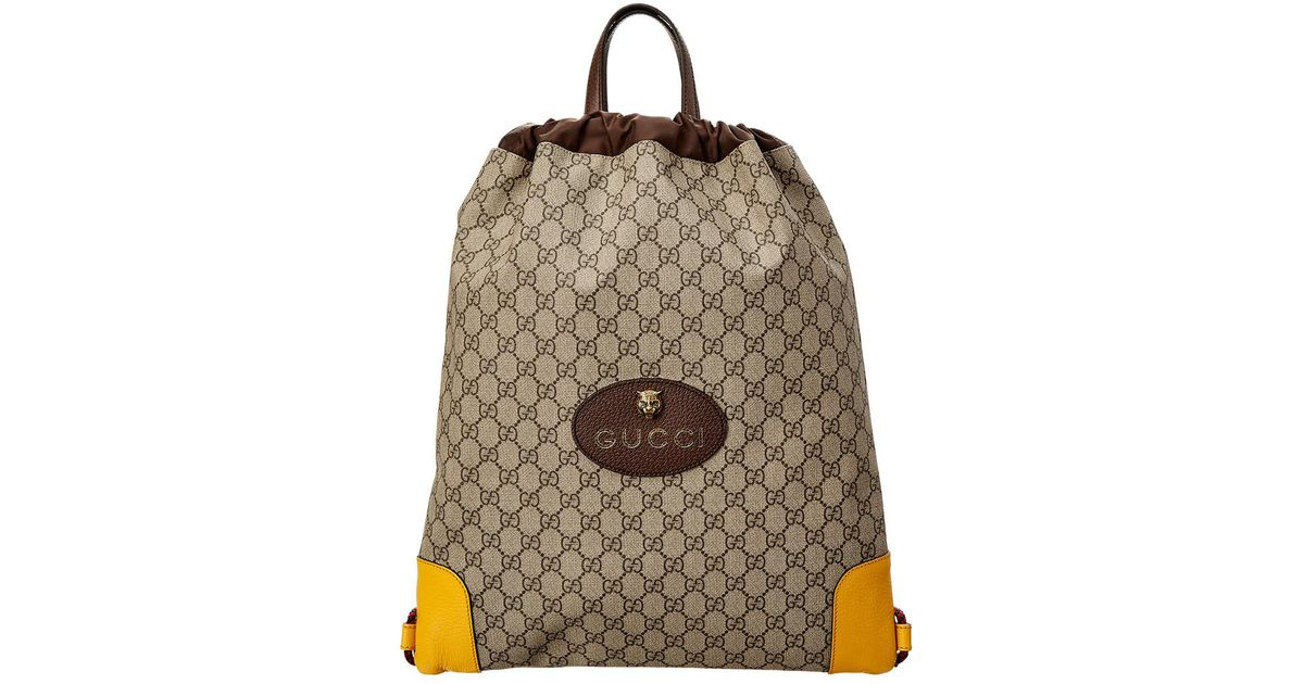 0049ee0e476 Lyst - Gucci GG Supreme Drawstring Backpack in Brown for Men