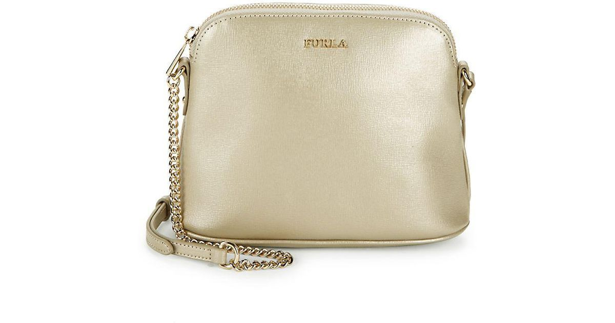 2d6d26e2fbb3 Furla Miky Leather Crossbody Pouch Bag in Metallic - Lyst
