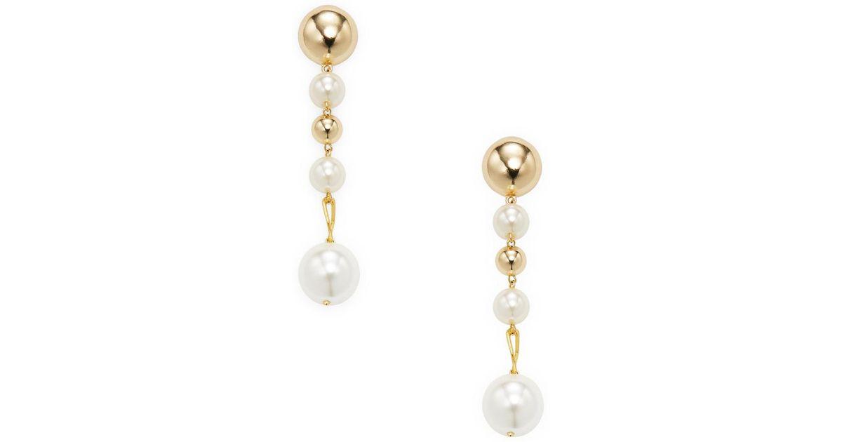 fcf1eeab4 Ettika Jewelry Alternating Pearl Statement Earrings in Metallic - Lyst