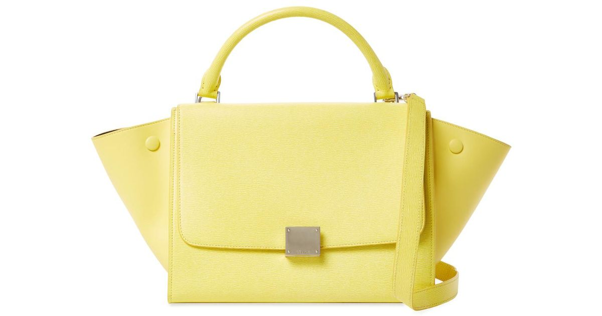 Lyst - Céline Trapeze Small Leather Tote in Yellow d2376c4578c79
