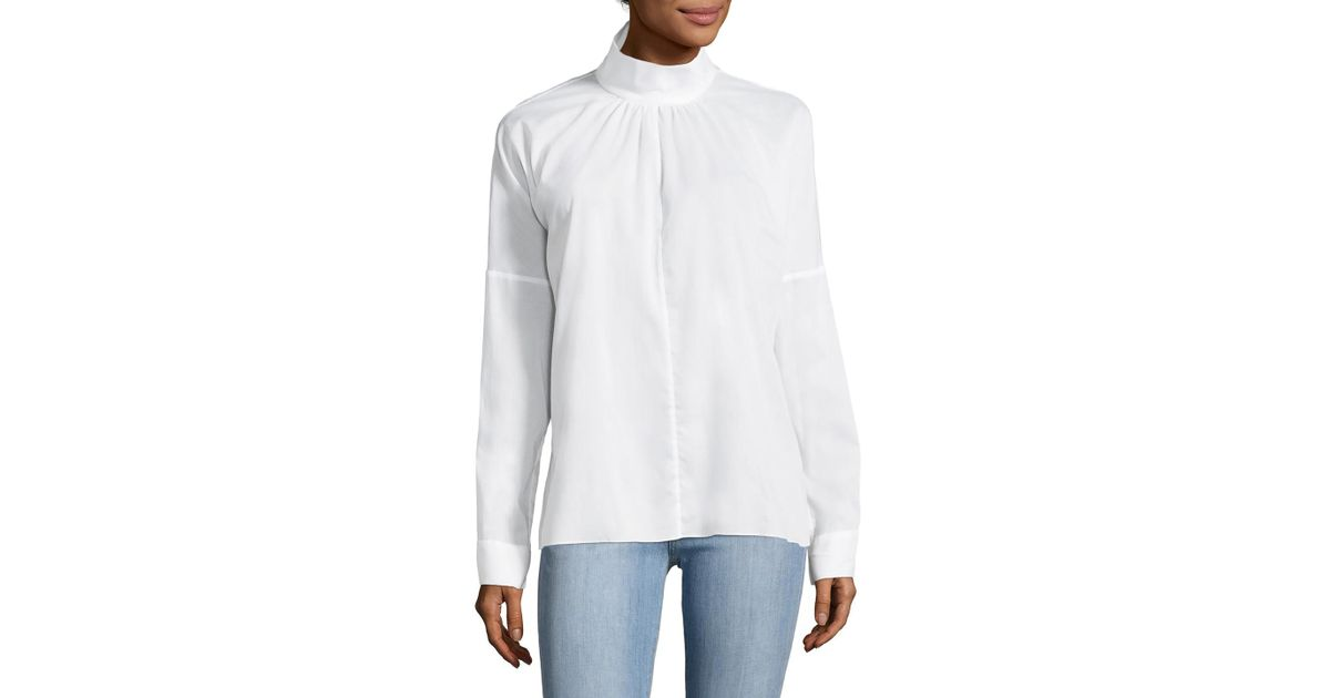 de Blanco sarga Talla algodón Mujer Tibi Mabel de 8 Camisa cUS7P4fAq