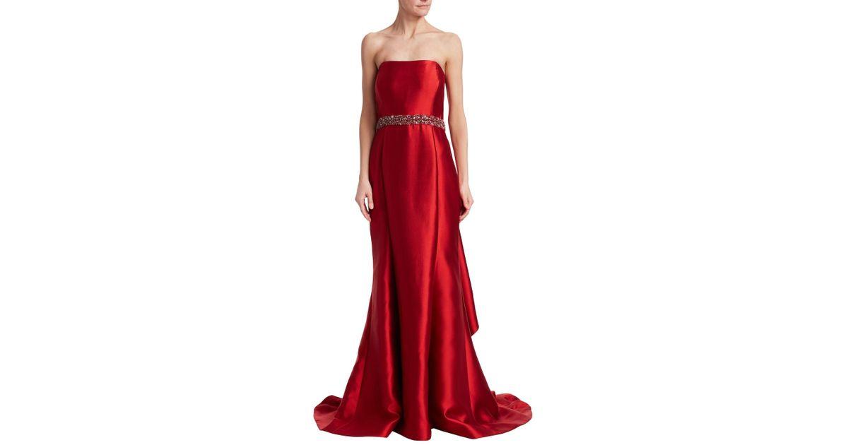 d1d7e88966f01 Lyst - Badgley Mischka Strapless Trumpet Gown in Red