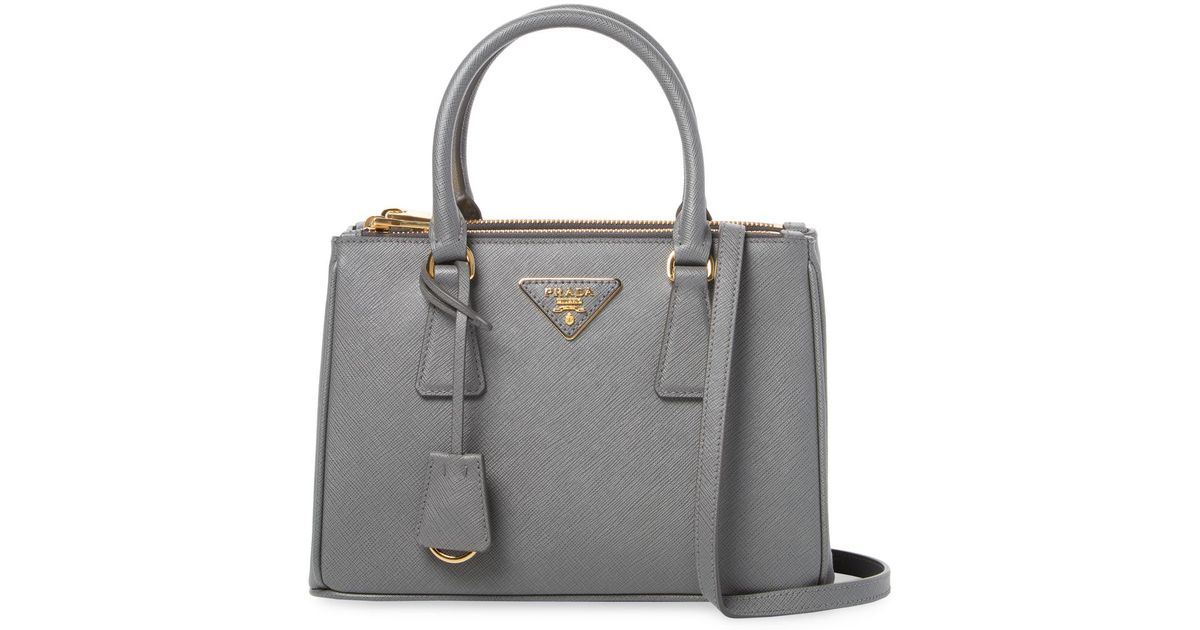 821123d1cd08 ... bag b8553 whole pattern black 32a29 27c90; wholesale lyst prada  galleria double zip small saffiano leather tote in gray de6b1 3af11