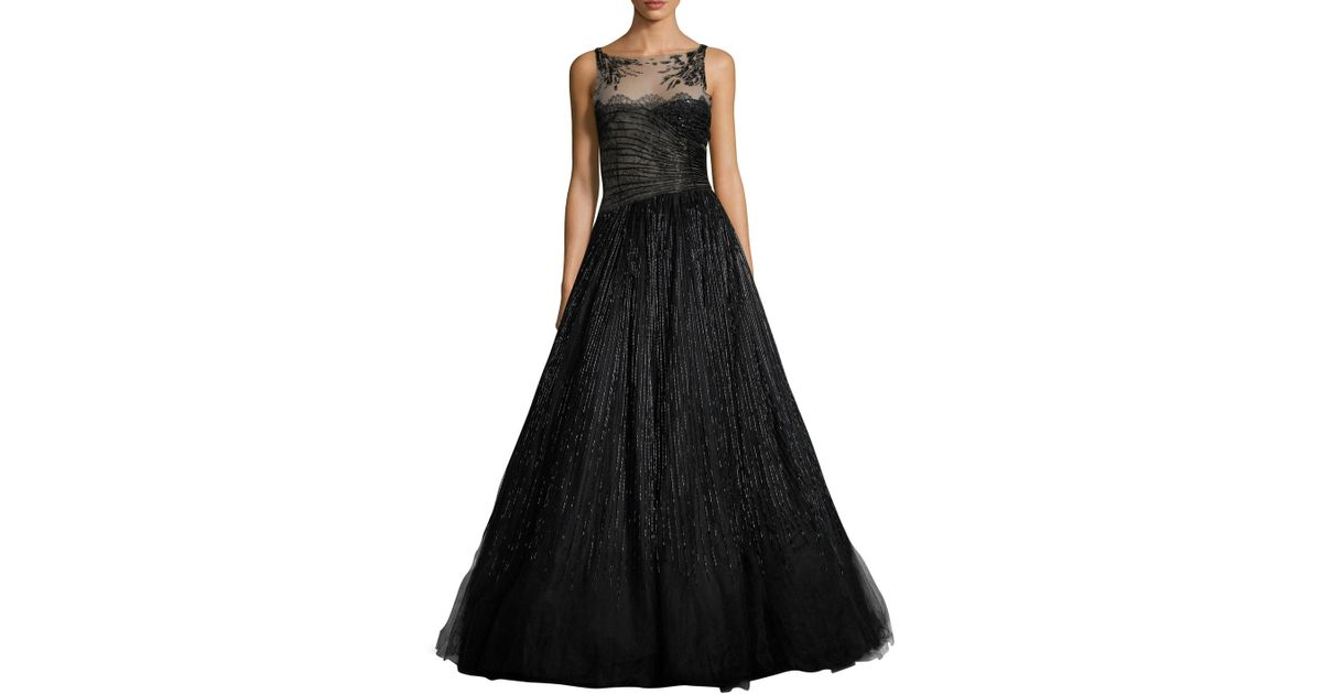 Lyst - Valentino Embellished Tulle Lace Gown in Black