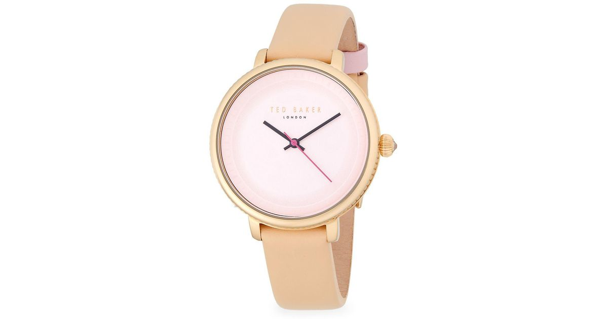 0d7d4614e Lyst - Ted Baker Isla Stainless Steel Quartz Analog Leather-strap Watch in  Pink