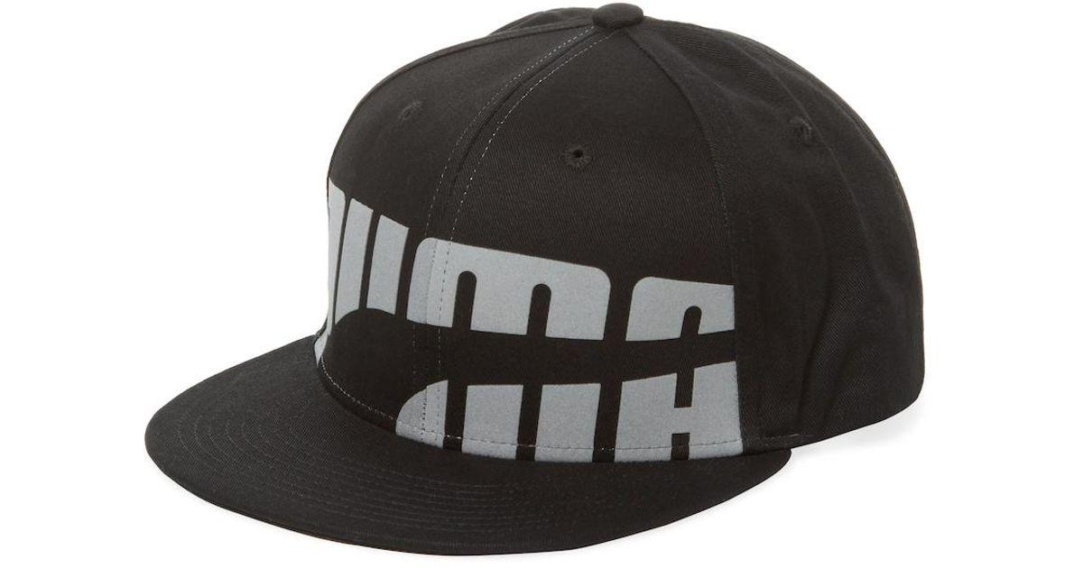 3c8d33b2698e Lyst - PUMA Word Low Flat Bill Snapback Baseball Cap in Black for Men