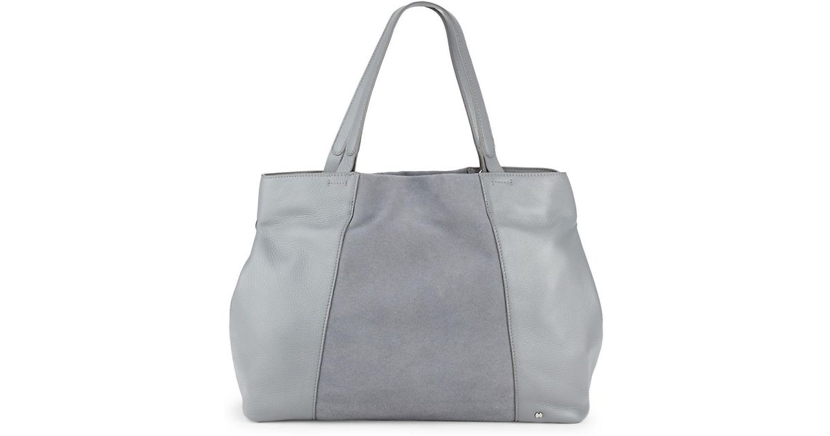 Lyst - Halston Heritage Leather   Suede Tote in Gray f2f9020044a41