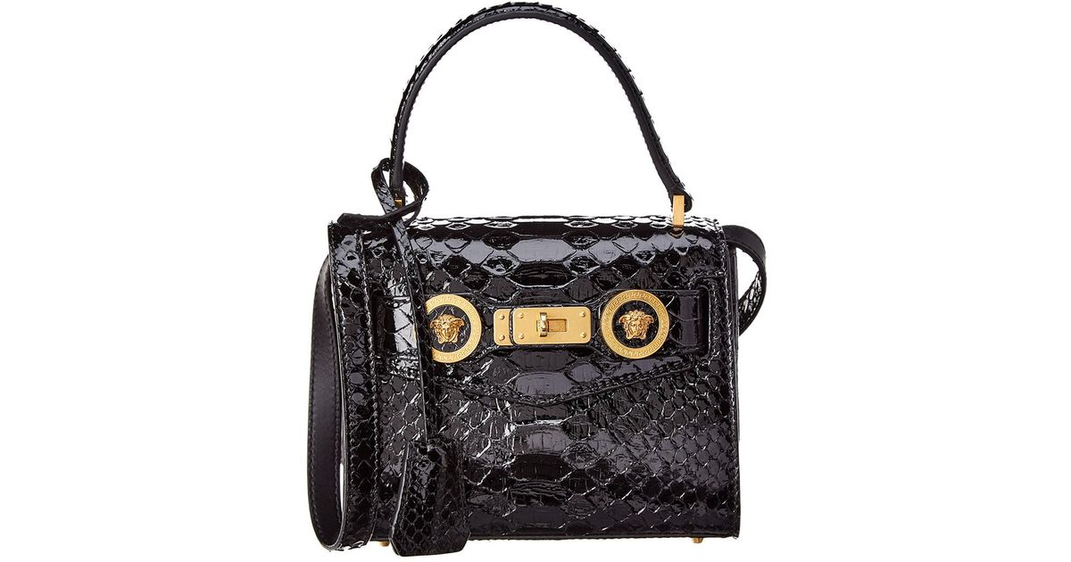 8325fce727 Versace Small Python Icon Leather Satchel in Black - Lyst
