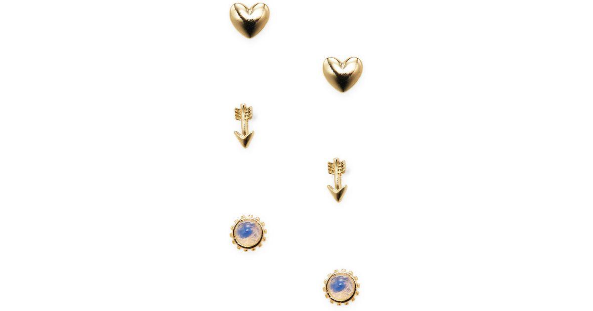 f5c0eace2 Lyst Ettika Jewelry Heart Arrow Sun Stud Earrings Set Of 3 In