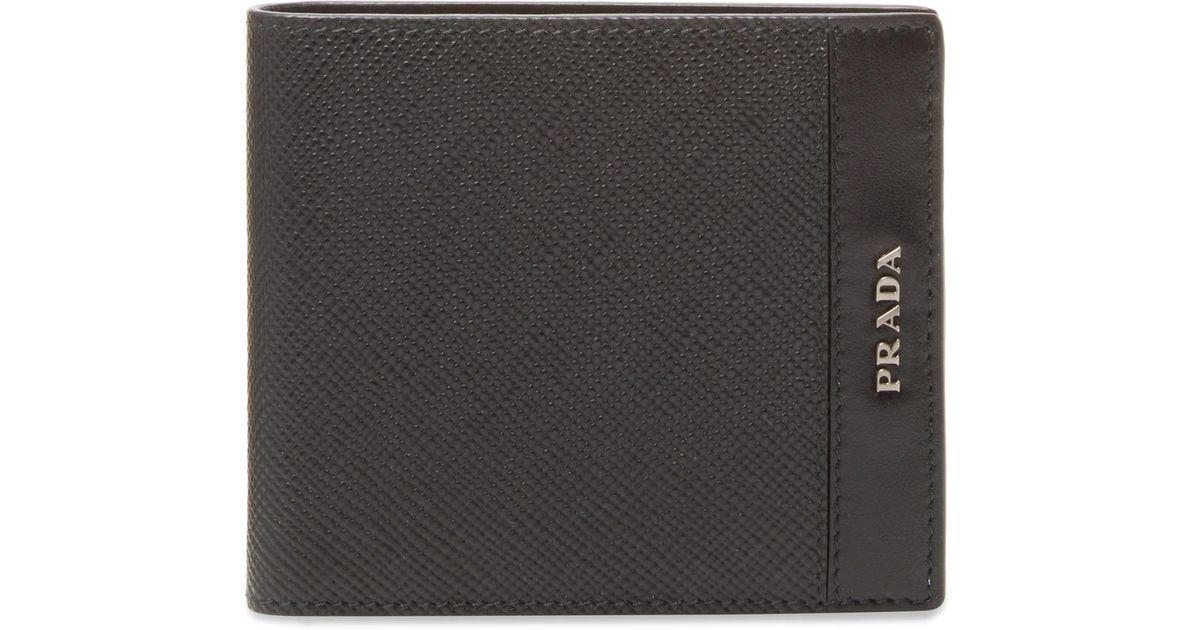 4b62c11b4f Prada Saffiano Cuir Soft Calf Bifold Wallet in Black for Men - Lyst