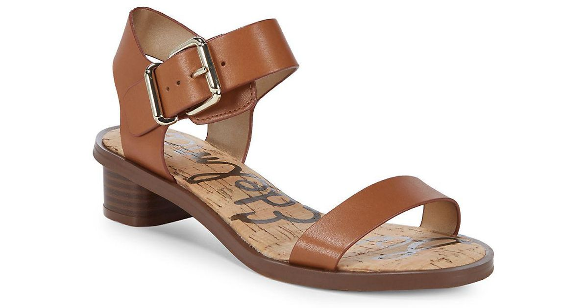 f5f16a082023ea Lyst - Sam Edelman Trina Heeled Leather Open Toe Sandals in Black