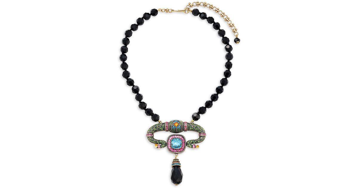 Lyst heidi daus egyptian beaded pendant necklace in metallic aloadofball Images
