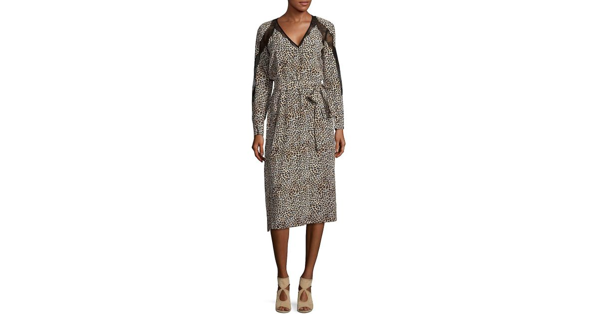 749ab4ccb2 Lyst - The Kooples Leopard Print Silk Midi Dress