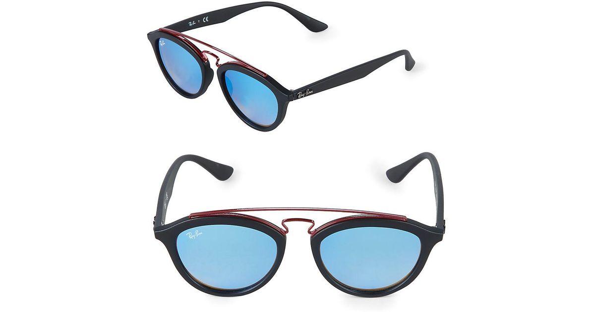 566445876fd Lyst - Ray-Ban 19mm Double Bridge Gatsby Sunglasses in Blue