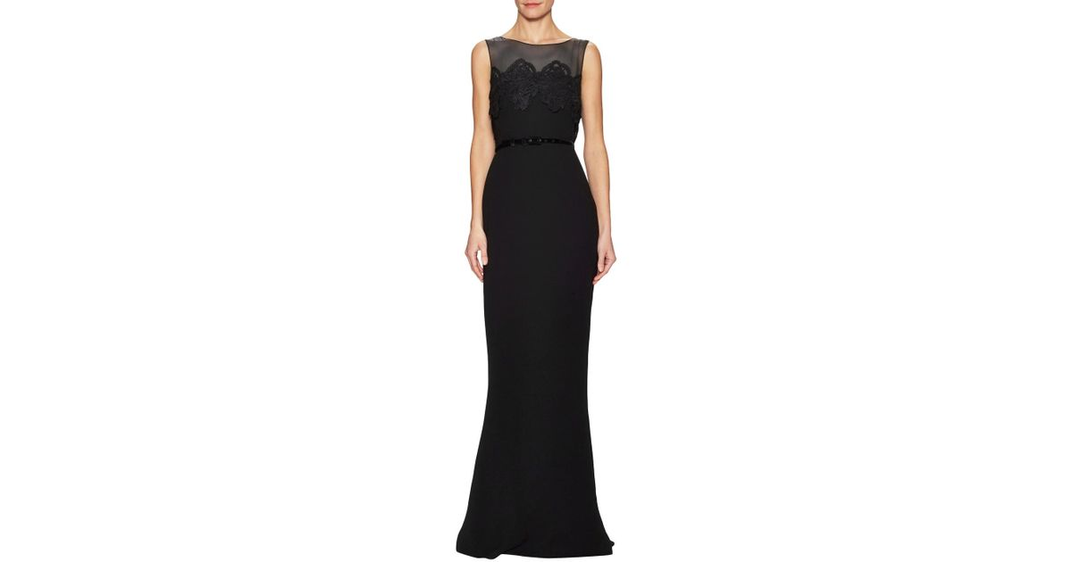 Max Mara Pomezia Sleeveless Lace Trim Gown in Black - Lyst 3af831a80ad