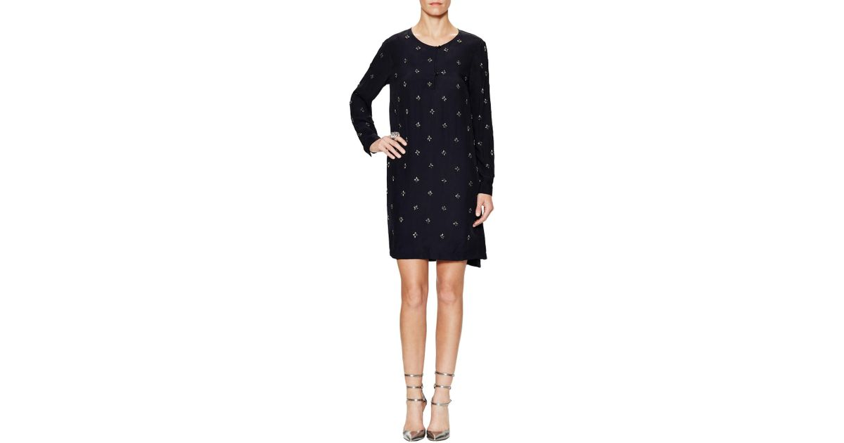 8c5b16f114a Lyst - French Connection Milana Star Embellished Shift Dress in Blue