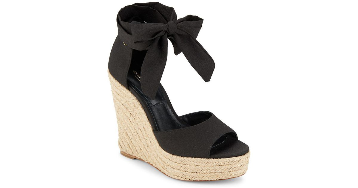 92ad1242065 Lyst - Michael Kors Embry Ankle Wrap Wedge Sandals in Black