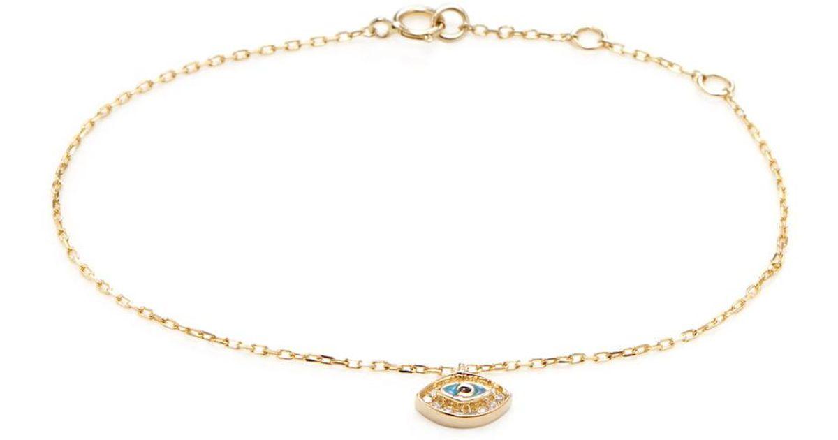 3e008c380 Lyst - CR By Casa Reale 14k Gold & Pave Diamond Evil-eye Charm Bracelet in  Metallic