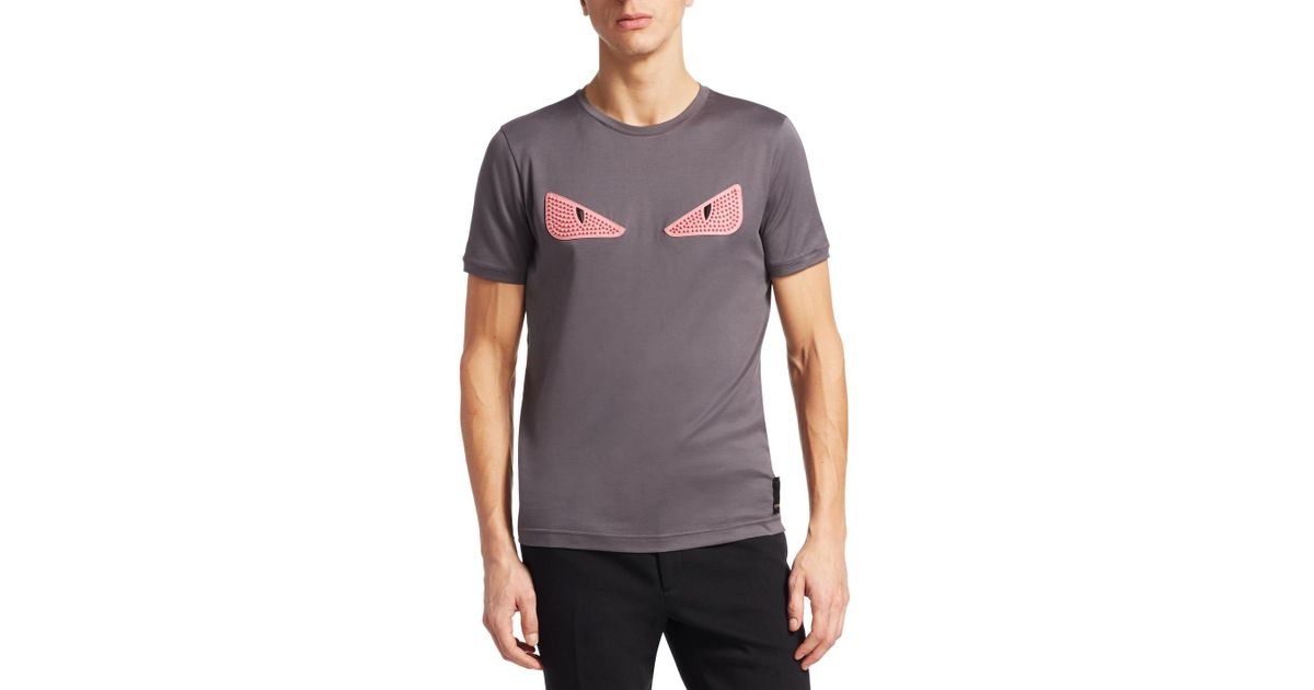 bf75fb217 Fendi Cat Eye Embroidery T-shirt in Gray for Men - Lyst