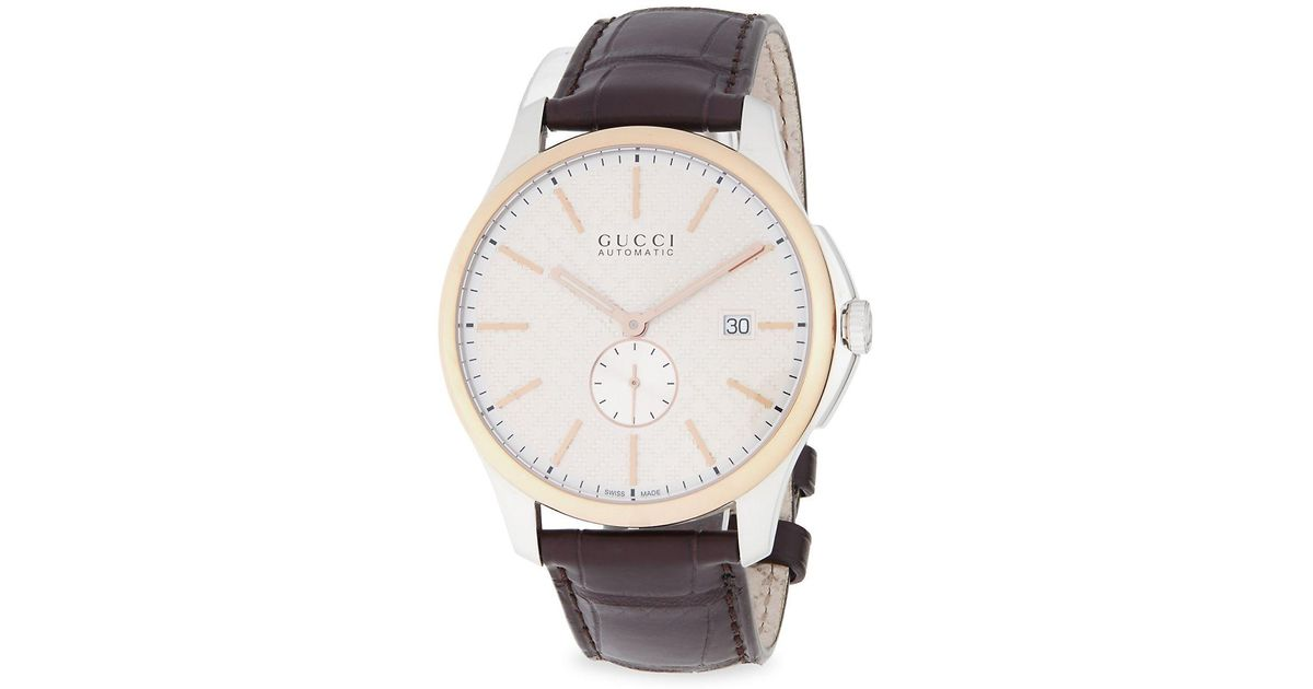 324af77d714 Lyst - Gucci Ya126314 Silver   Rose Gold-tone Brown Watch in Metallic for  Men