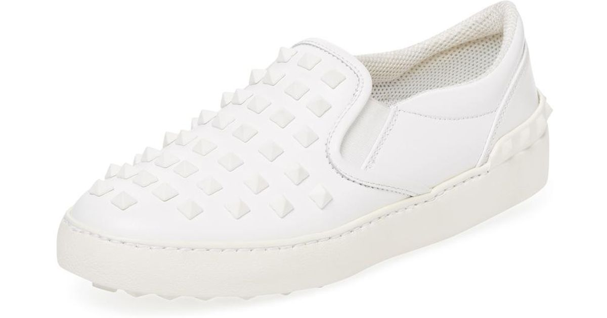 65af741c34e5 Lyst - Valentino Rockstud Leather Slip-on Sneaker in White