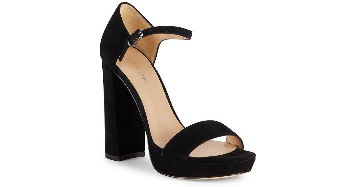 449633e11ebc81 Pour La Victoire Yvette Block Heel Leather Sandals in Black - Lyst