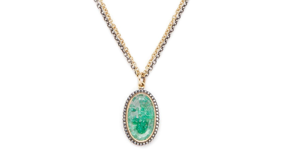 Lyst moritz glik 18k yellow gold silver emerald pendant lyst moritz glik 18k yellow gold silver emerald pendant necklace in green aloadofball Images