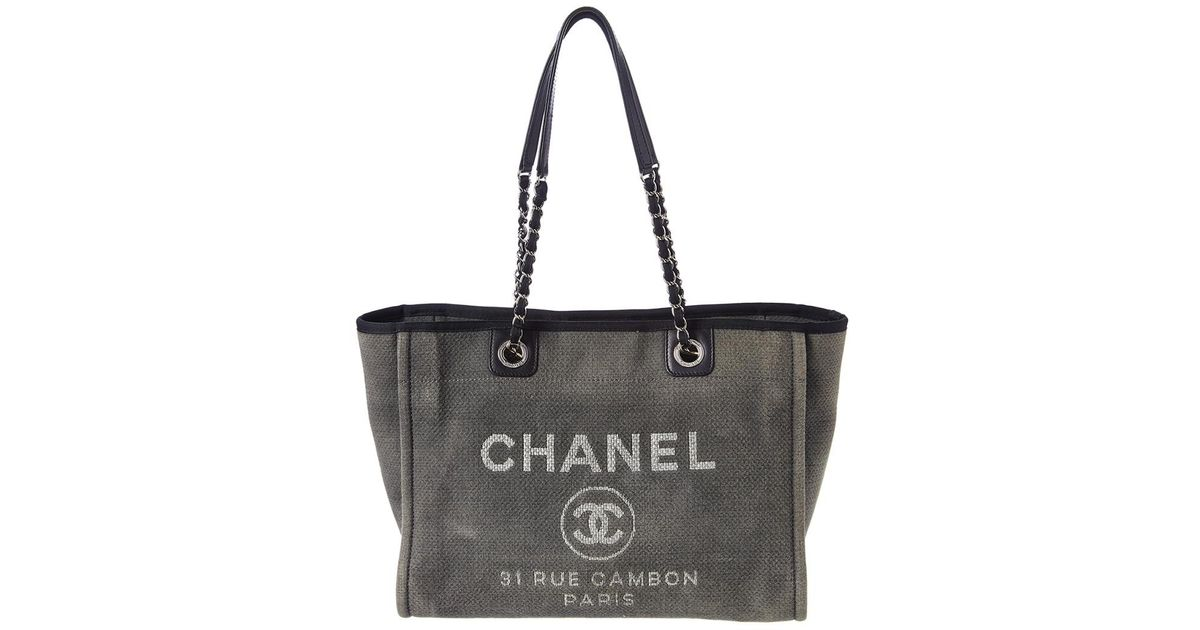 58d5cd86e661 Chanel Grey Canvas Large Deauville Tote in Gray - Lyst
