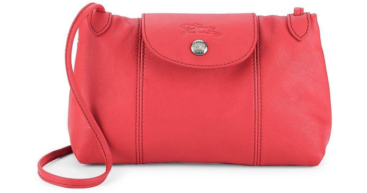 9a81f71c8 Lyst - Longchamp Le Pliage Cuir Leather Crossbody Bag in Pink