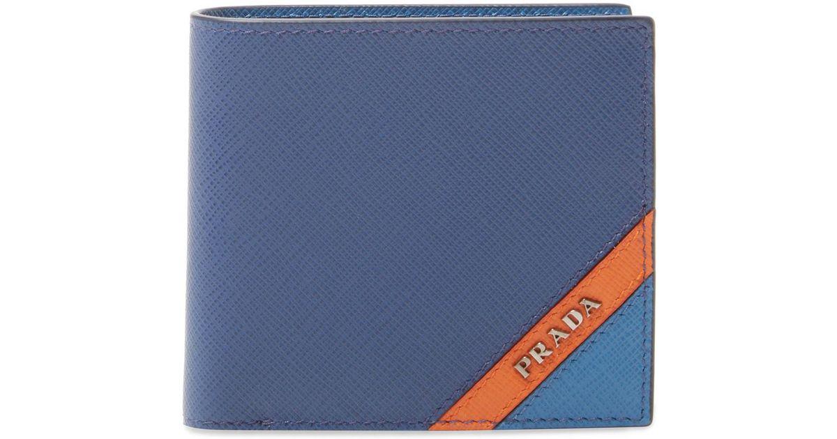 5e4471bbe69c ... low cost lyst prada saffiano leather stripe colour bifold wallet in  blue for men 3153d 82c79