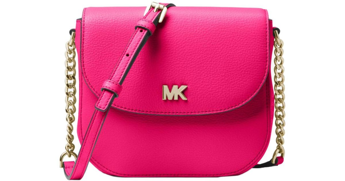 5a01d6f04062 MICHAEL Michael Kors Mott Pebbled Leather Dome Crossbody in Pink - Lyst