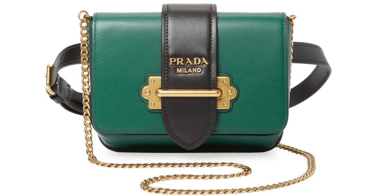 Prada Solid Flap Belt Bag in Green - Lyst 886f8c1de73fa