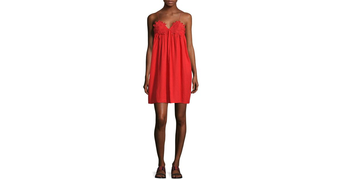 Lyst marabelle lace applique mini dress in red