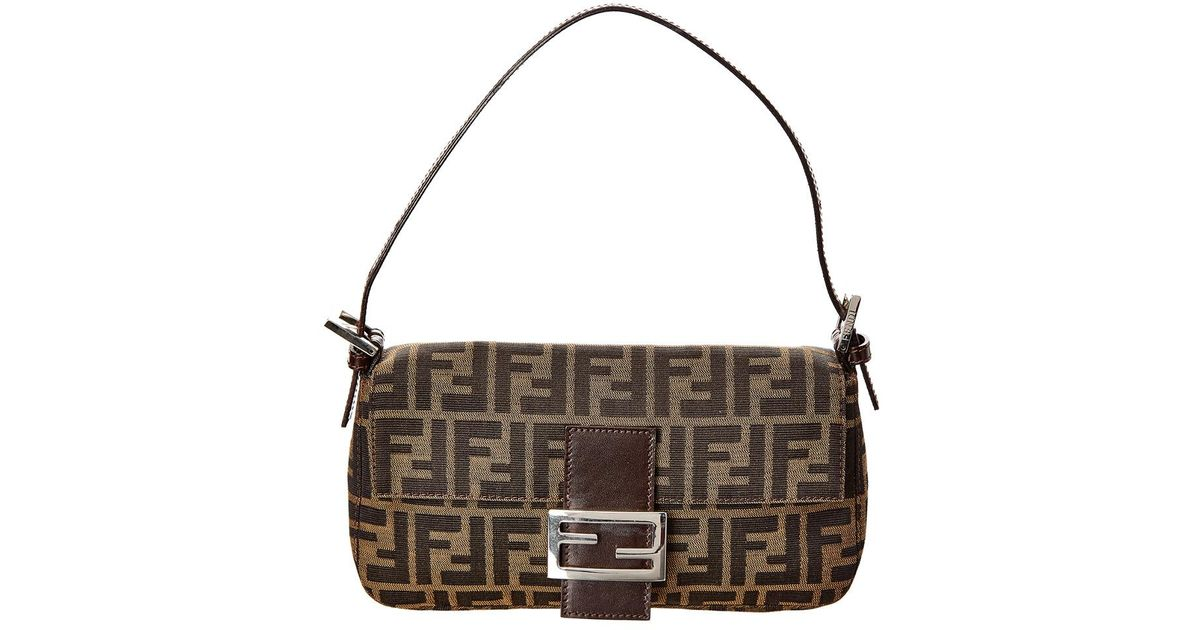 96e056094b Lyst - Fendi Brown Zucca Canvas Baguette in Brown