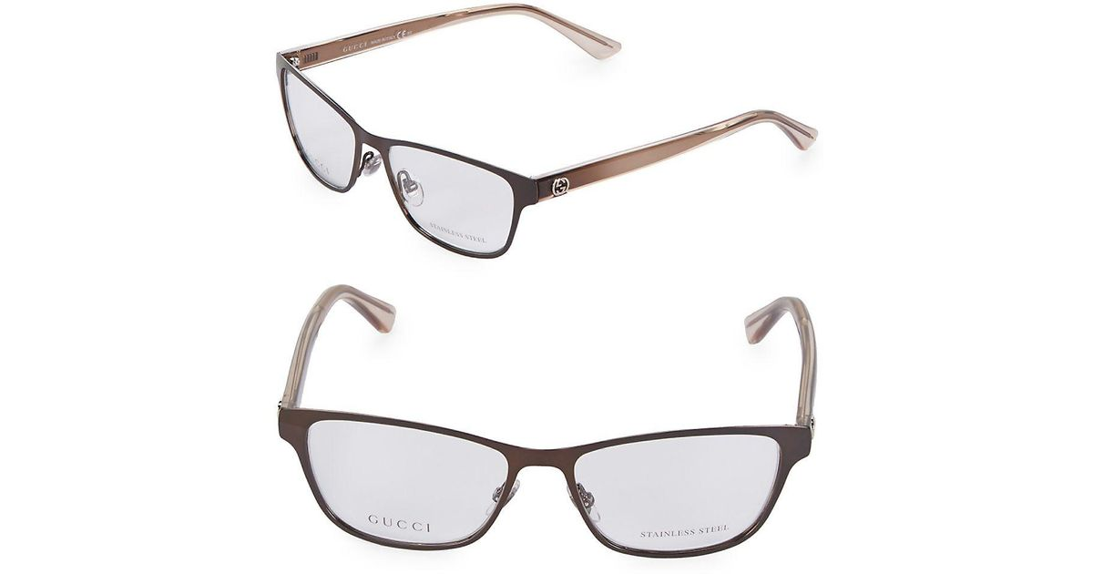 492fc73aa389 Lyst - Gucci 52mm Square Optical Glasses in Brown