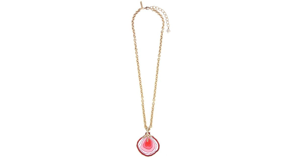 Lyst oscar de la renta agate pendant necklace in metallic aloadofball Choice Image